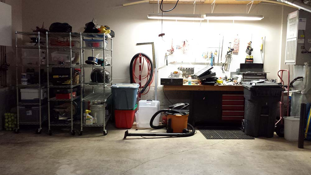 after - a clean garage with a diy workbench project